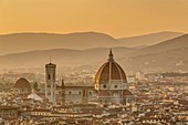 Italy, Tuscany, Florence, historical center listed as World Heritage by UNESCO, view of the cathedral Santa Maria del Fiore from the Basilica di San Miniato al Monte