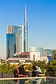 Italy, Lombardy, Milan, 7 Ceresio, restaurant with rooftop pool, designed by the architectural firm Studio Dimore with basically the Porta Nuova district and Unicredit Tour de architect Cesar Pelli