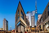 Italy, Lombardy, Milan, Porta Nuova Garibaldi district (2009-2015), access to the new business district at the bottom with the Unicredit Tower designed by architect Cesar Pelli