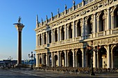 Italy, Veneto, Venice, listed as World Heritage by UNESCO, National Library Marciana and the column of Saint George