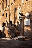 Italy, Latium, Rome, Piazza del Campidoglio, Historical Centre listed as World Heritage by UNESCO, Capitoline She Wolf on the column in front of the Palazzo Senatorio's entrance