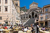 Italy, Campania region, Amalfi Coast listed as a UNESCO World Heritage Site, Amalfi, Piazza Duomo and the cathedral or Duomo