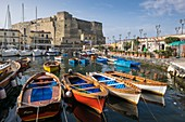 Italy, Campania region, Naples, Historic Centre listed by UNESCO as a World Heritage Site, Chiaia district, Borgo Marinaro, Santa Lucia small port at the foot of Castel dell'Ovo