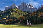 Italy, Trentino Alto Adige, Dolomites massif listed as World Heritage by UNESCO, Funes or Villnoss valley, Saint Johann church, Odle mountains, natural park Puez Odle
