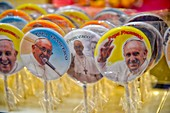 Italy, Lazio, Rome, historical centre listed as World Heritage by UNESCO, district of Campo di Fiori, lollipops with the photo of Pope François
