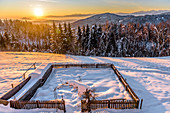 Snowy winter landscape with coniferous forest and farm garden at sunrise, Himmelberg, Carinthia, Austria