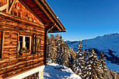 Hut in the Seiser Alm ski area, South Tyrol, Italy