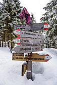 Signpost on ski tour in the Pflersch valley, South Tyrol, Italy
