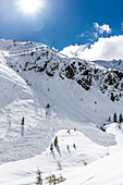 Past avalanche on ski tour in the Pflersch valley, South Tyrol, Italy