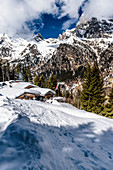 Hut on a ski tour in the Pflersch valley, South Tyrol, Italy