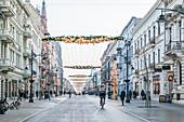 Christmas decoration in Petrikauer Strasse (Ulica Piotrkowska), in Lodz, Poland, Europe
