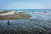 Traditional boat with outrigger on the beach in Malekula, Vanuatu, South Pacific, Oceania