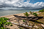 Boat with outrigger on Efate Beach, Vanuatu, South Pacific, Oceania