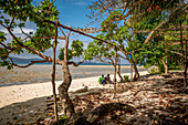 Young women on the beach on Efate, Vanuatu, South Pacific, Oceania