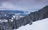 Winter landscape on Lake Tegernsee from Wallberg