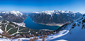 Panorama of the Achensee from the summit of the Bärenkopf in spring