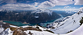 Panorama of the Achensee from the Seekarspitze summit in spring
