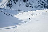 Snowboarder bei Tiefschneeabfahrt in den Zillertaler Alpen, Hochfügen, Winter in Tirol, Österreich