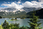 View of the Eibsee and the Zugspitze massif, Grainau, Upper Bavaria, Bavaria, Germany, Europe