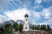 View of St. John the Baptist Church in Grainau, in the background the Waxenstein, Grainau, Bavaria, Germany, Europe