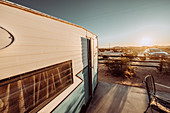 Airbnb property with caravan and outdoor area in Joshua Tree National Park, Joshua Tree, Los Angeles, California, USA, North America