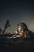 Illuminated granite rock under a starry sky in Joshua Tree National Park, Joshua Tree, Los Angeles, California, USA, North America