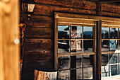 Window of a wooden house in Pioneertown, Joshua Tree National Park, California, USA, North America