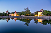 City wall of Berching at the blue hour, Neumarkt in der Oberpfalz, Upper Palatinate, Bavaria, Germany