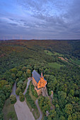 View of the Gügel church near Scheßlitz at dusk, Franconian Switzerland, Bamberg, Upper Franconia, Franconia, Bavaria, Germany
