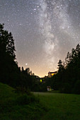 Milky Way over the Rabenstein Castle in the Ailsbachtal, Franconian Switzerland, Ahorntal, Bayreuth, Upper Franconia, Franconia, Bavaria, Germany, Europe