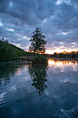 The Main near Segnitz at the blue hour, Marktbreit, Kitzingen, Lower Franconia, Franconia, Bavaria, Germany, Europe