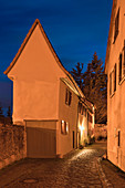 Nocturnal view of the city wall of Sulzfeld am Main, Kitzingen, Lower Franconia, Franconia, Bavaria, Germany, Europe