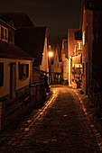 Nocturnal view of the Raitzengasse from Sulzfeld am Main, Kitzingen, Lower Franconia, Franconia, Bavaria, Germany, Europe