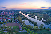 View of Sulzfeld am Main at the blue hour, Kitzingen, Lower Franconia, Franconia, Bavaria, Germany, Europe