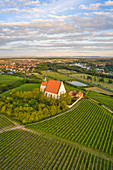Aerial view of Maria im Weingarten near Volkach, Kitzingen, Lower Franconia, Franconia, Bavaria, Germany, Europe