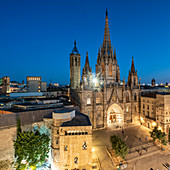 View of Barcelona Cathedral from the roof terrace of the Hotel Colon in the Gothic Quarter of Barcelona, Spain