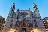 Facade of the Santa Maria del Mar church in the Gothic Quarter in Barcelona, Spain