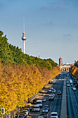Strasse des 17. Juni, autumnal Tiergarten, Alex, TV tower, Berlin, Germany