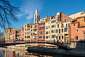 colorful houses on the river Onyar in Girona, Catalonia, Spain