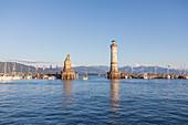 Lindau harbor in Lindau, Bavaria, Germany