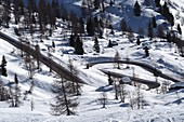Pass road over Cortina d´Ampezzo, at the Giau Pass, snow, curves, landscape, winter in Veneto, Italy