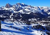 in the skiing area under the Cristallo above Cortina d´Ampezzo with Tofana, snow, landscape, Dolomites, winter in Veneto, Italy