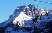 At Monte Pelmo in the skiing area Civetta above Alleghe, snow, ski slope, ski lift, hut, Dolomiti Superski, Dolomites Veneto, Italy