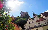 in Arnsberg, sun, castle, houses, village, summer, Altmuehltal, North Upper Bavaria, Bavaria, Germany
