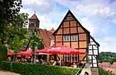 am Schloßberg in Quedlinburg in the North Harz, half-timbered house, cafe, restaurant, hill, Saxony-Anhalt, Germany