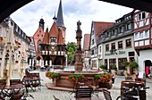 at the town hall, Michelstadt im Odenwald, Middle Ages, fountain, half-timbered, Hesse, Germany