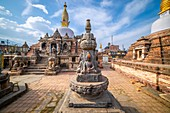 Sacred Gompa. Sculptures of Gods and Goddesses carved on the stone of Ancient Buddhist Temple and ancient ruins. Intricate Details