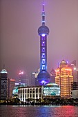 The luminous cityscape of Shanghai, China at night.
