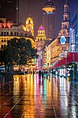 The flashy neon lights at Nanjing Road in Shanghai, China.