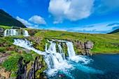 Kirkjufellsfoss, waterfall near the mountain of Kirkjufell, Snaefellsnes Peninsula, Iceland